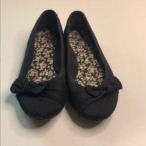 Black 7.5 Women's Ballet Flats w/ Bow SALE